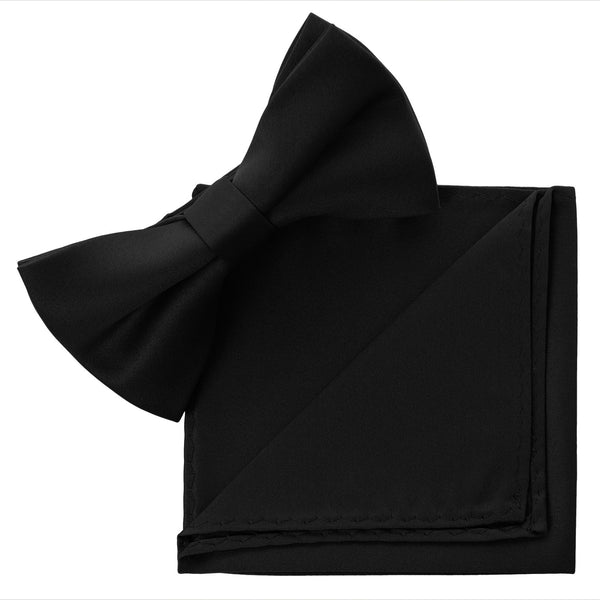 BLACK Bow Tie and Handkerchief Set- MONDAYSUIT