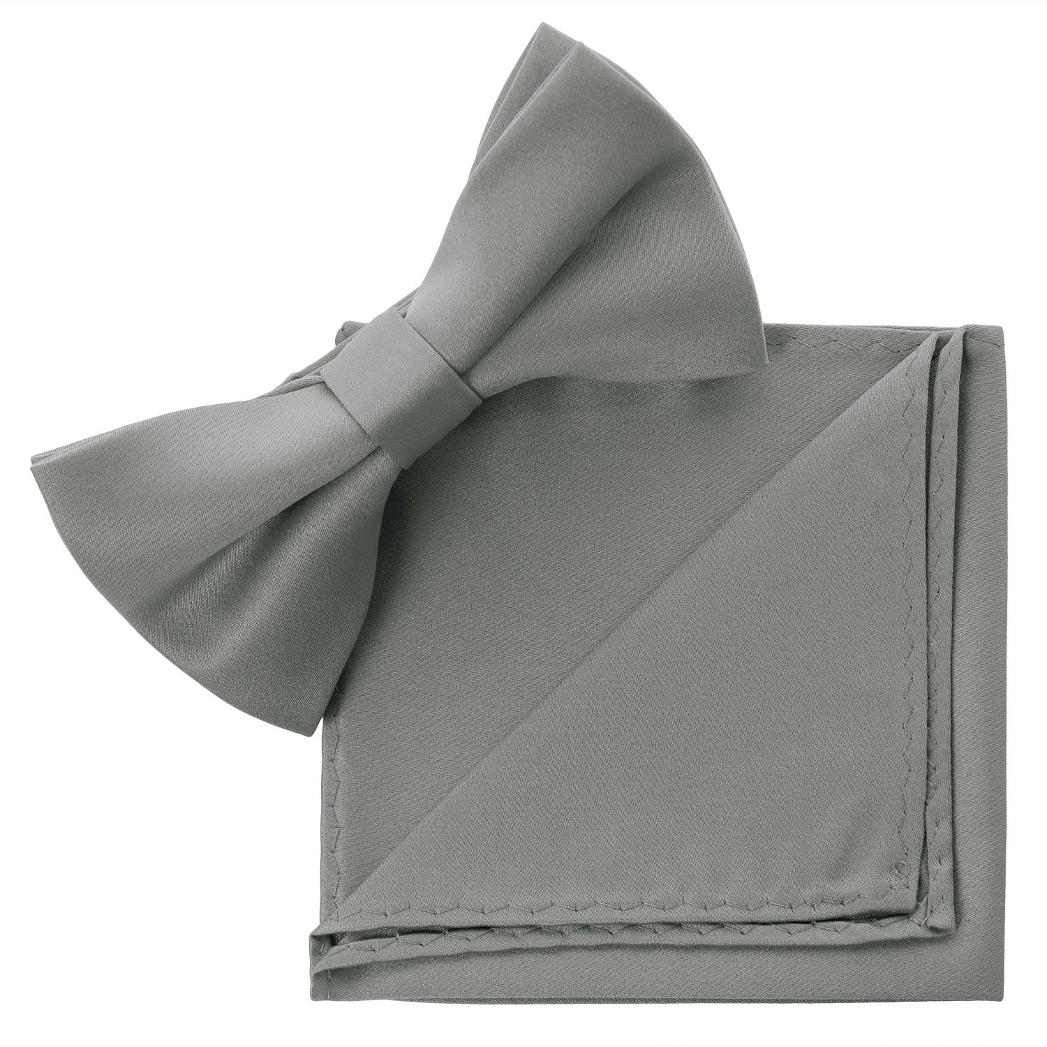 GRAY Bow Tie and Handkerchief Set- MONDAYSUIT