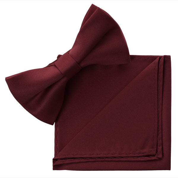BURGUNDY Bow Tie and Handkerchief Set- MONDAYSUIT