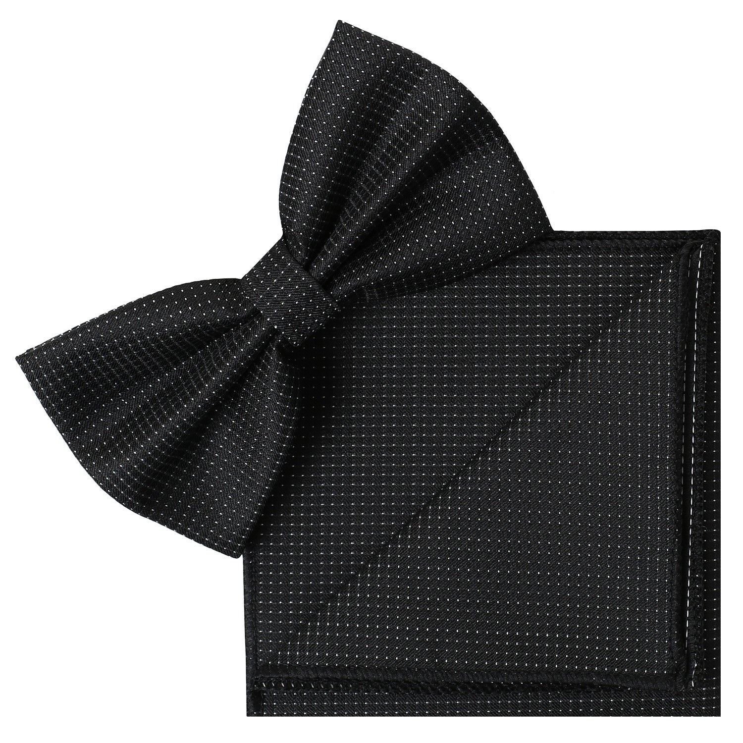 BLACK Dot Butterfly Bow Tie and Handkerchief Set- MONDAYSUIT