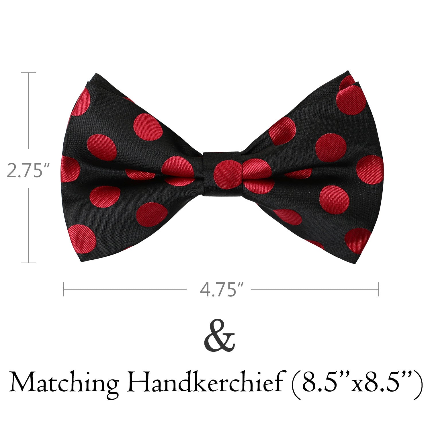 RED Polka Dot Bow Tie and Handkerchief Set- MONDAYSUIT
