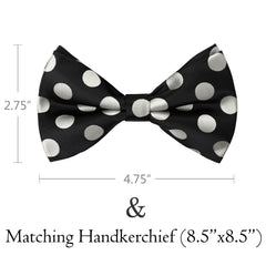 SILVER Polka Dot Bow Tie and Handkerchief Set- MONDAYSUIT