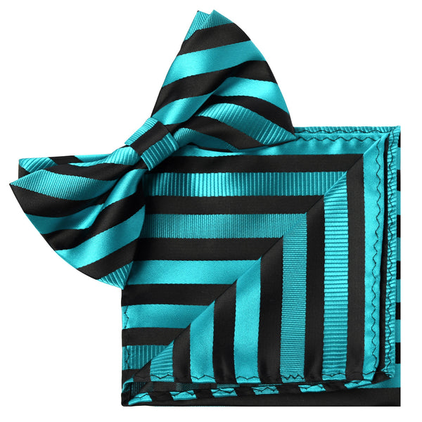 BLUE Striped Bow Tie and Handkerchief Set- MONDAYSUIT