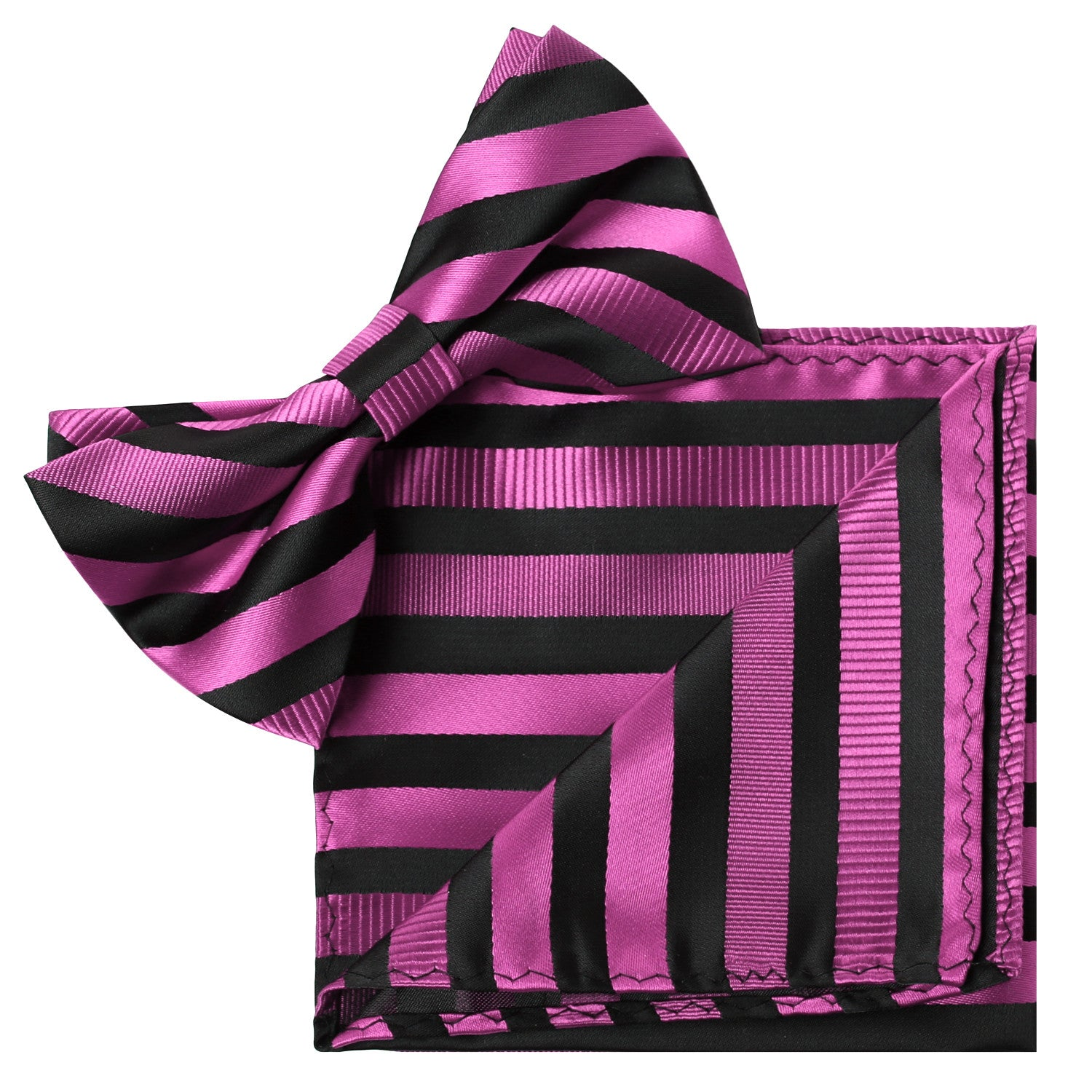 PINK Striped Bow Tie and Handkerchief Set- MONDAYSUIT