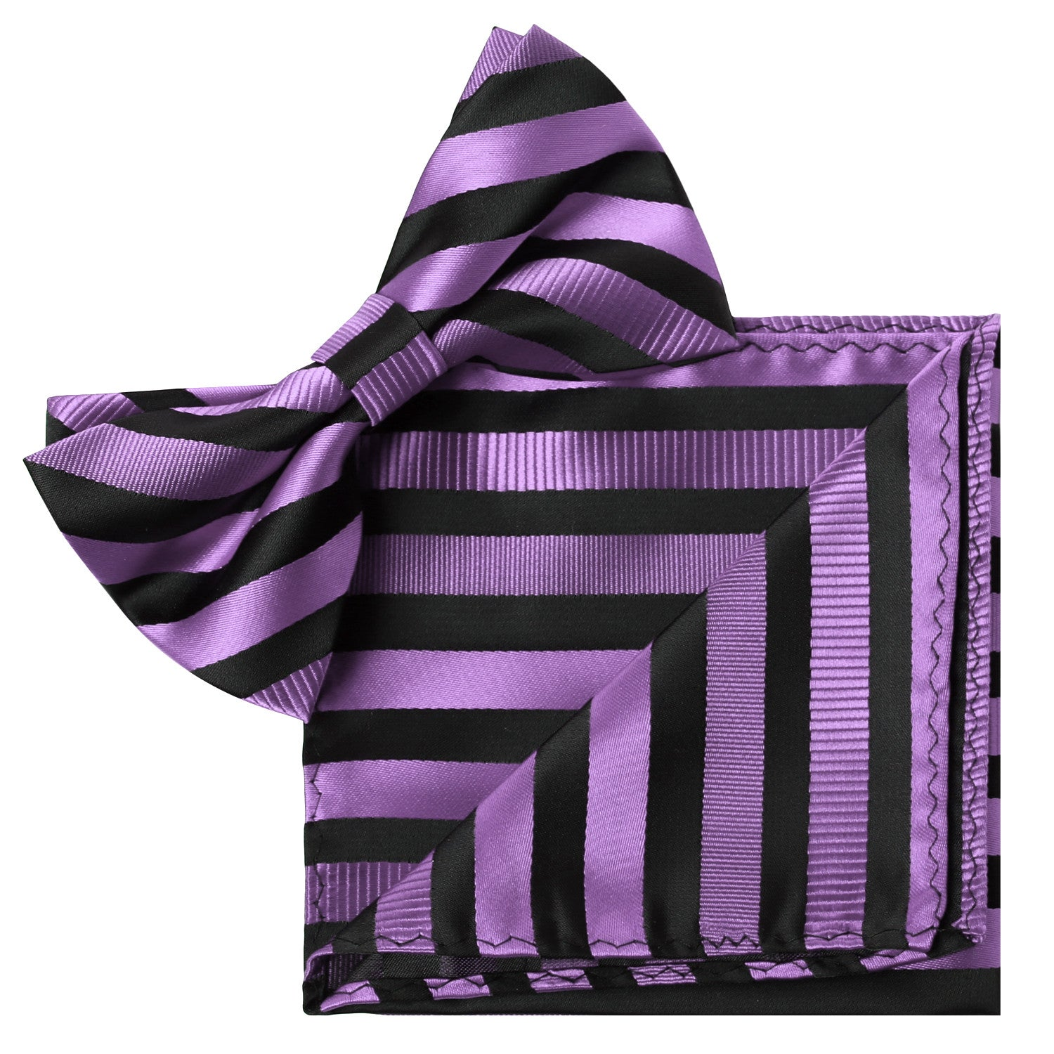 PURPLE Striped Bow Tie and Handkerchief Set- MONDAYSUIT