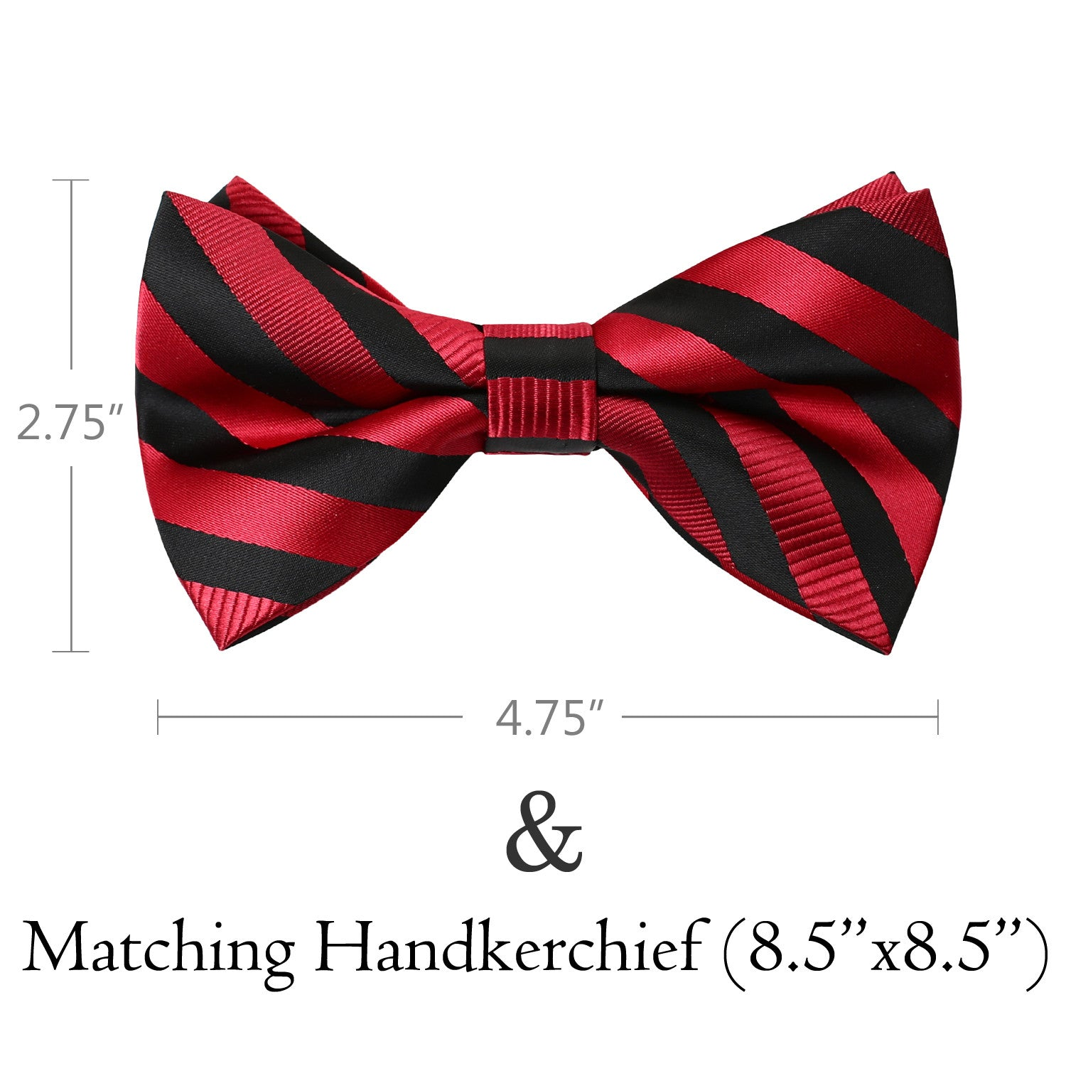 RED Striped Bow Tie and Handkerchief Set- MONDAYSUIT