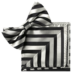 SILVER Striped Bow Tie and Handkerchief Set- MONDAYSUIT