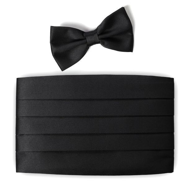 BLACK Tuxedo Bow Tie and Cummerbund Set- MONDAYSUIT