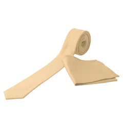 BEIGE Men's Formal Classic Narrow Solid Tie Handkerchief Set - MONDAYSUIT
