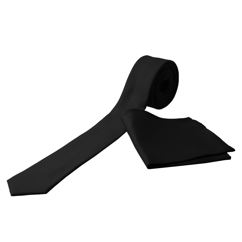 BLACK Men's Formal Classic Narrow Solid Tie Handkerchief Set - MONDAYSUIT