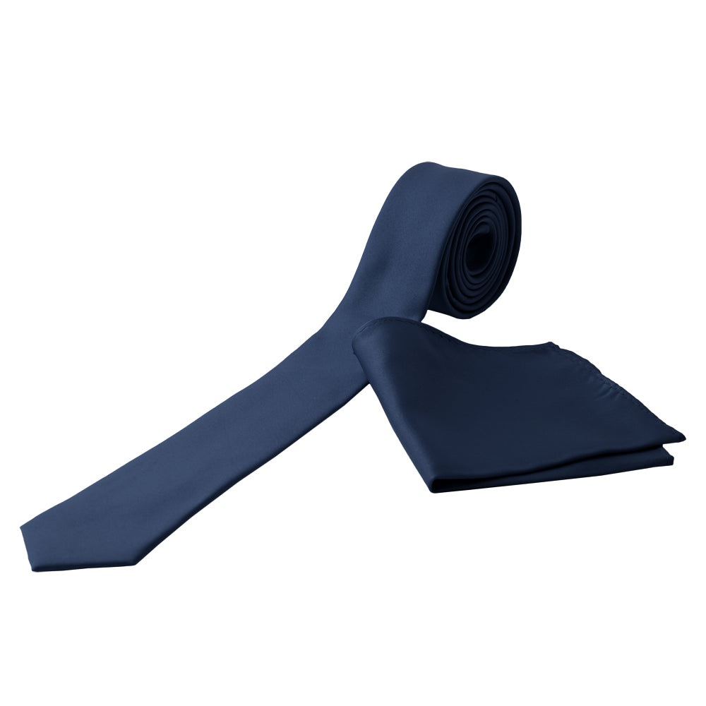NAVY Men's Formal Classic Narrow Solid Tie Handkerchief Set - MONDAYSUIT