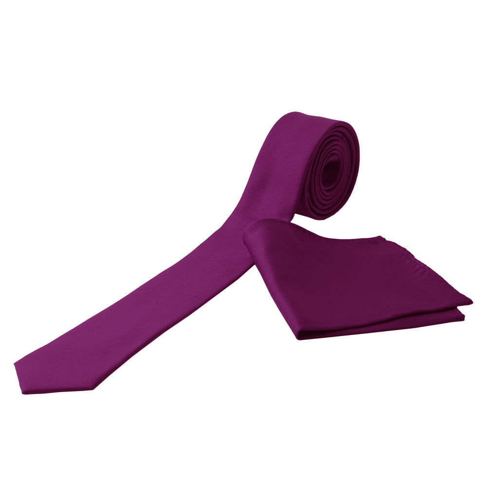 PURPLE Men's Formal Classic Narrow Solid Tie Handkerchief Set - MONDAYSUIT