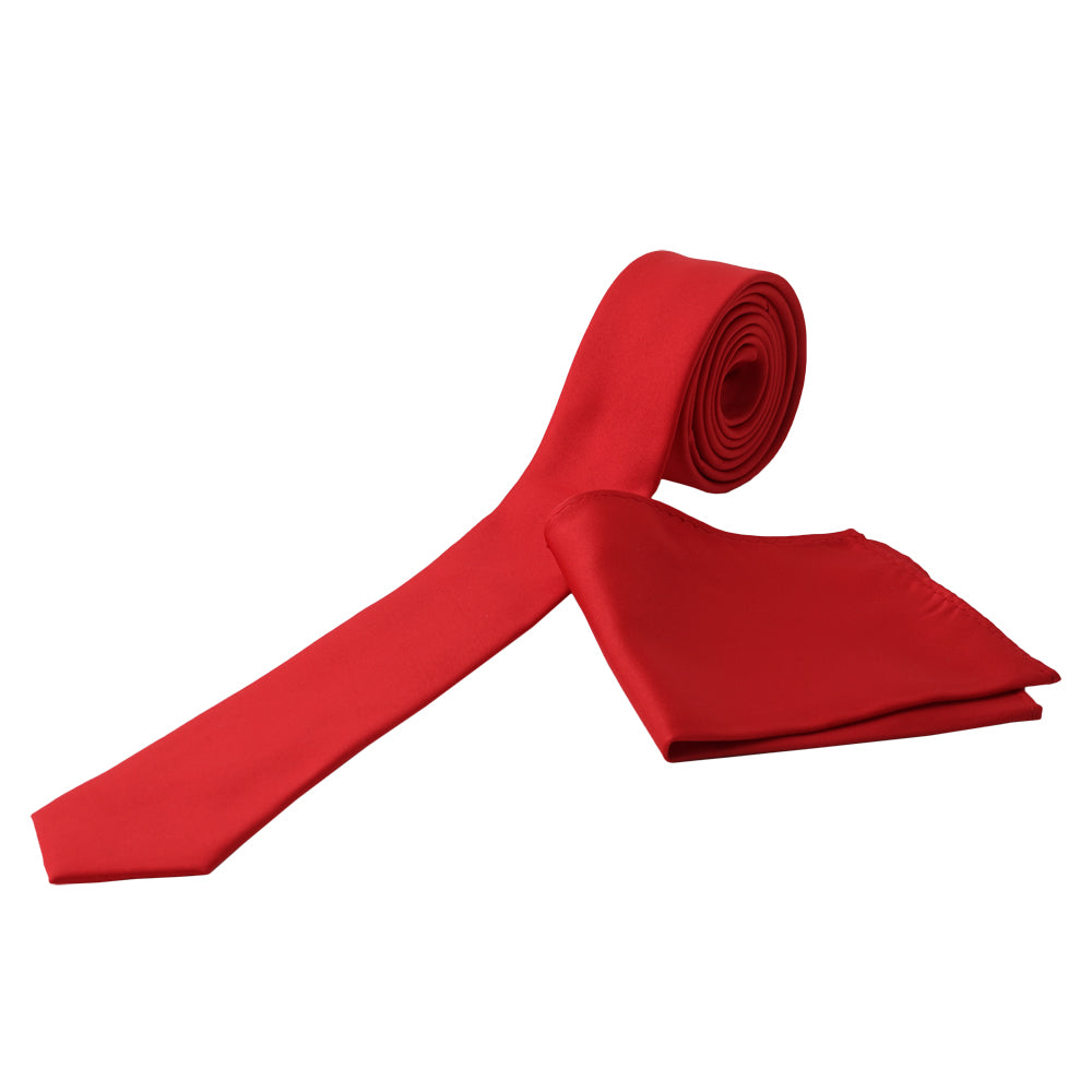 RED Men's Formal Classic Narrow Solid Tie Handkerchief Set - MONDAYSUIT