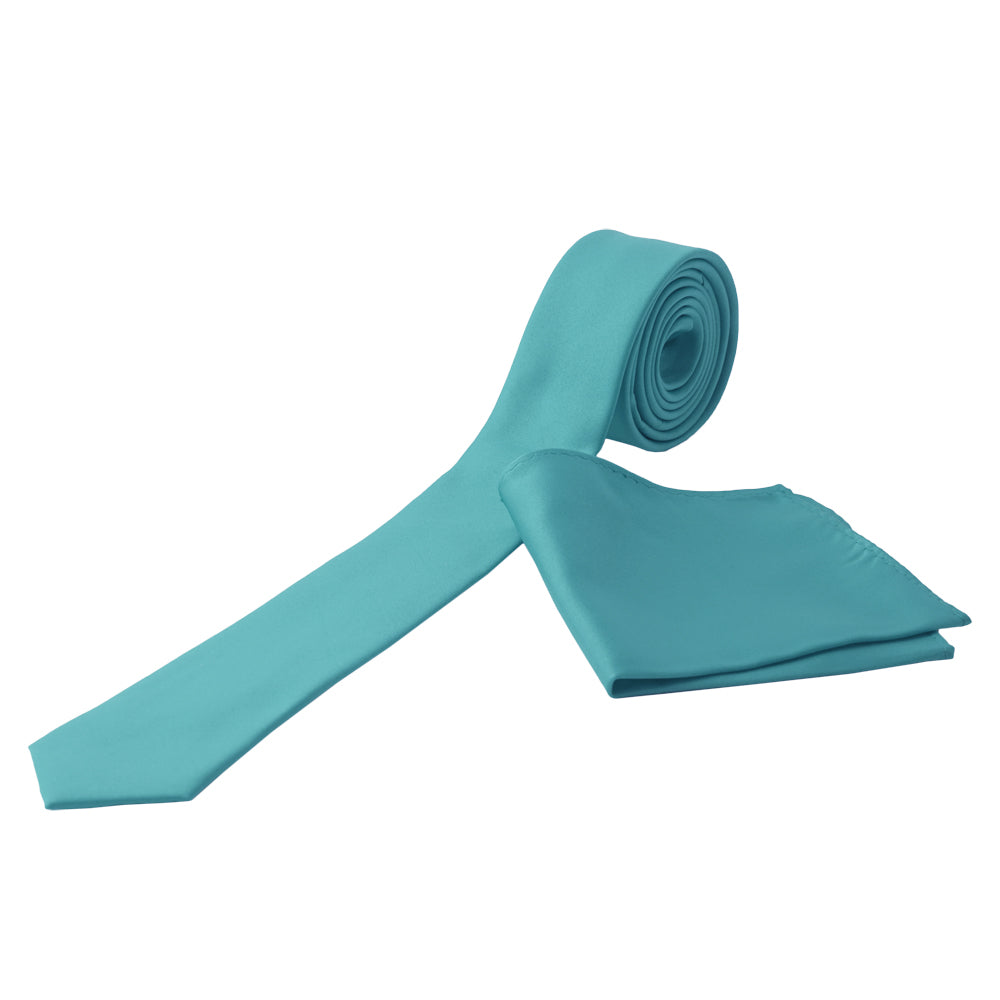 TURQUOISE Men's Formal Classic Narrow Solid Tie Handkerchief Set - MONDAYSUIT