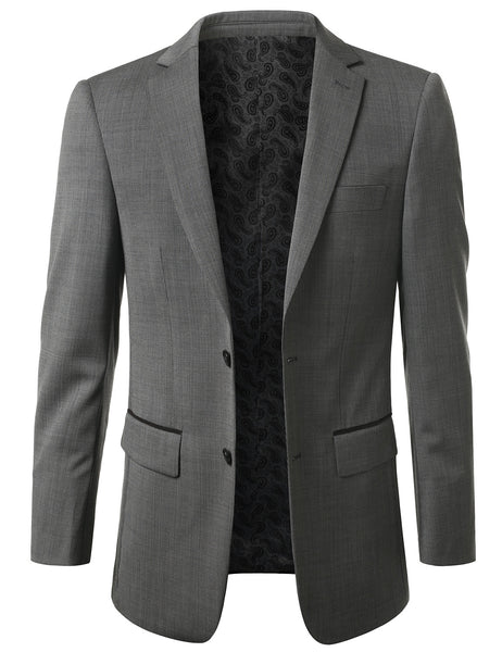 01BLACK Modern Fit 2-Button Wool Blazer (Big & Tall Available)