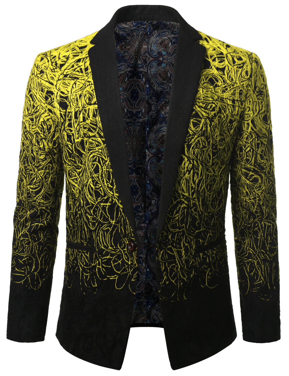 YELLOW Mens Two Tone Gradient Extra Slim Fit Blazer Jacket - MONDAYSUIT