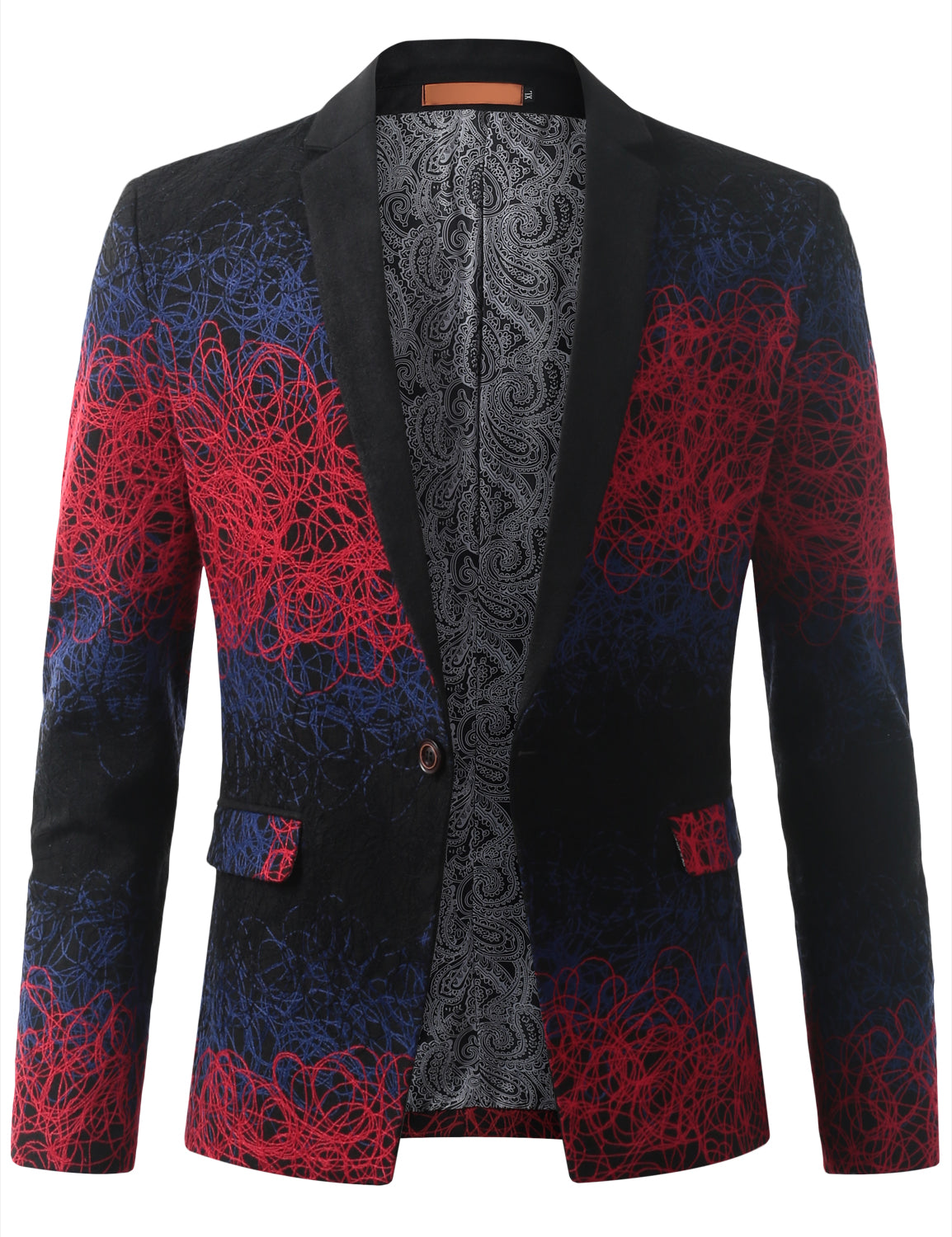REDBLUE Mens Multi Tone Gradient Extra Slim Fit Blazer Jacket