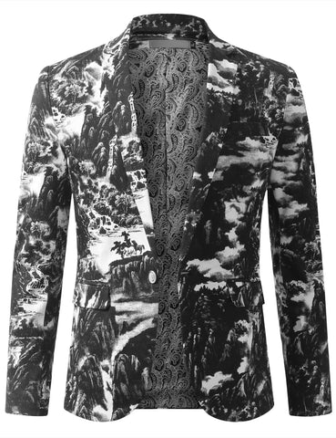 Mens Graphic Vintage Landscape Ink Painting Blazer Jacket