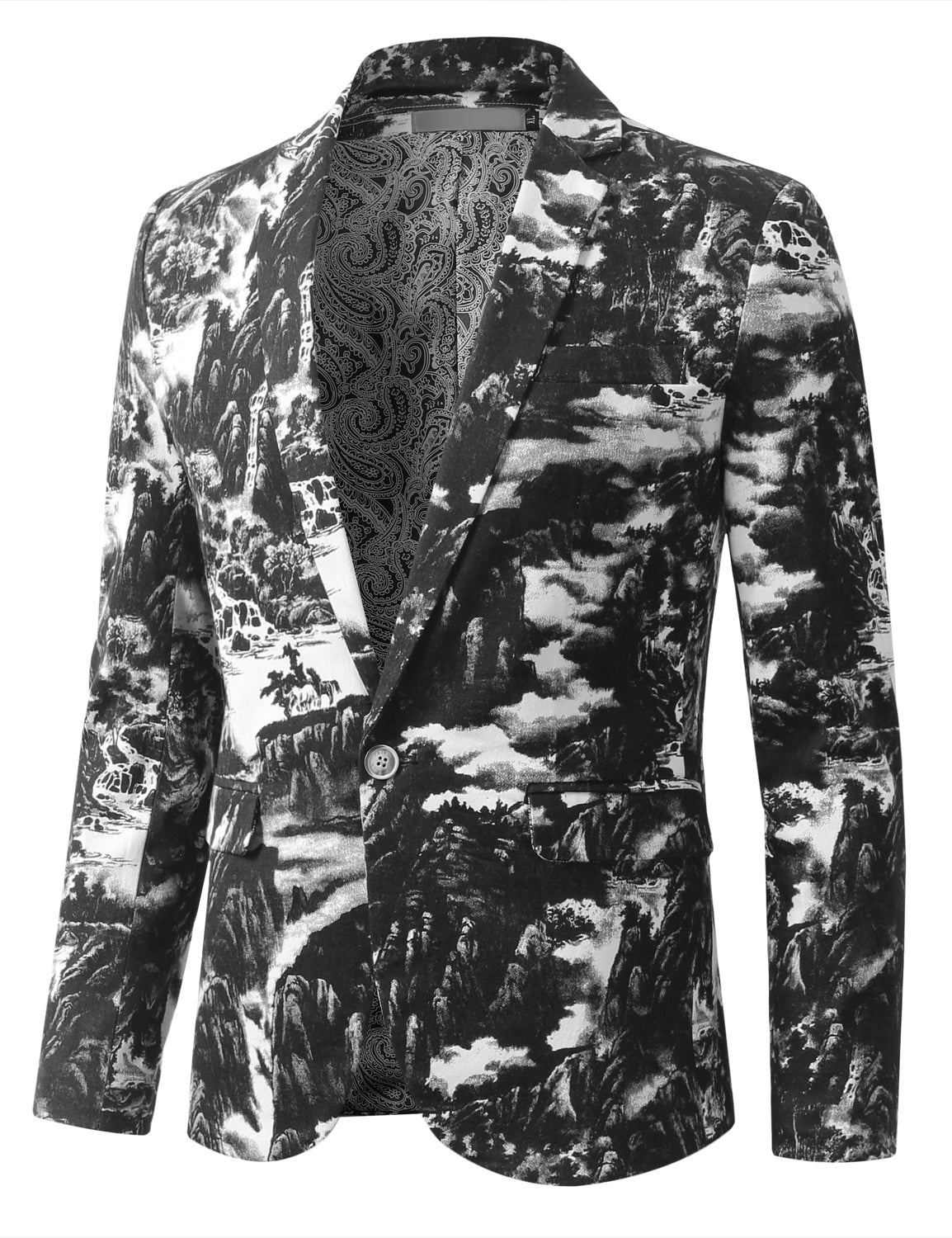 BLACK Mens Graphic Vintage Landscape Ink Painting Blazer - MONDAYSUIT