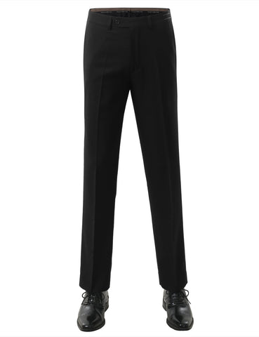 Black Modern Fit Plain Dress Trousers