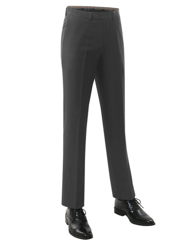 Gray Modern Fit Plain Dress Trousers