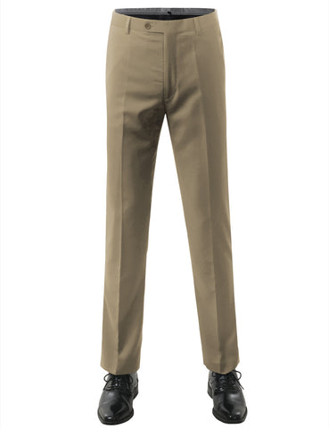 Beige Modern Fit Flat Front Dress Trousers