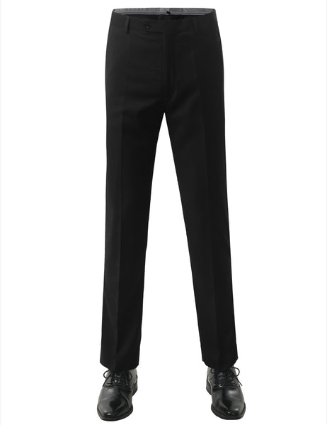 01BLK Modern Fit Flat Front Dress Trousers- MONDAYSUIT