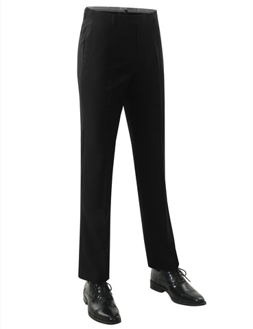 Black Modern Fit Flat Front Dress Trousers