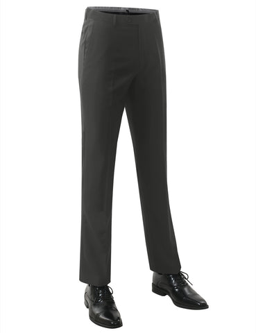 Charcoal Modern Fit Flat Front Dress Trousers