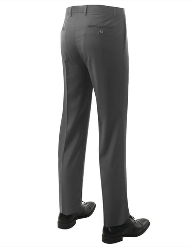 Gray Modern Fit Flat Front Dress Trousers