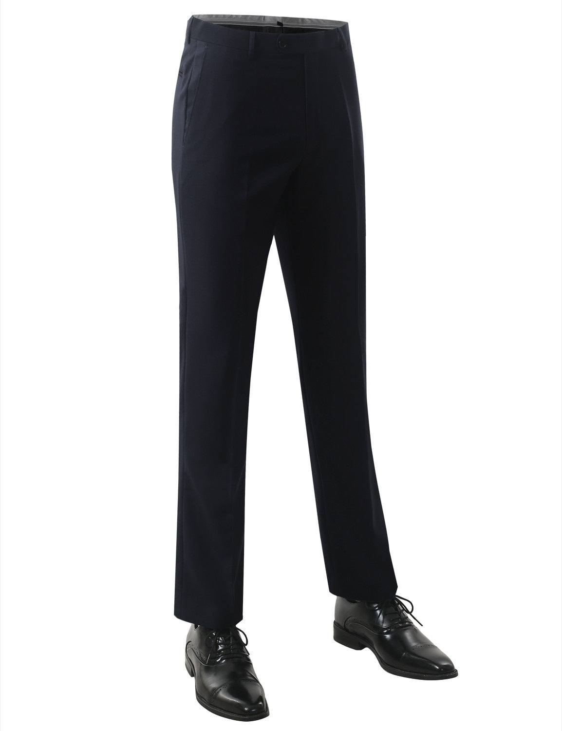 02NVY Modern Fit Flat Front Dress Trousers- MONDAYSUIT