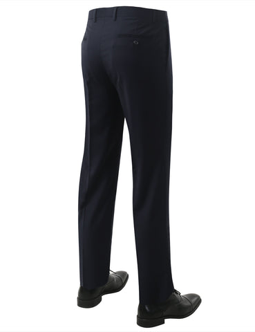 Navy Modern Fit Flat Front Dress Trousers