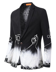 BLACK Mens Vintage Paisely Designed Gradient Blazer - MONDAYSUIT