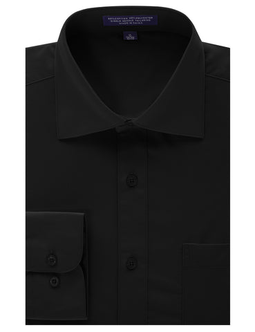 Black Regular Fit Dress Shirt w/ Reversible Cuff (Big & Tall Available)