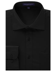 BLACK Regular Fit Dress Shirt w/ Reversible Cuff (Big & Tall Available)- MONDAYSUIT
