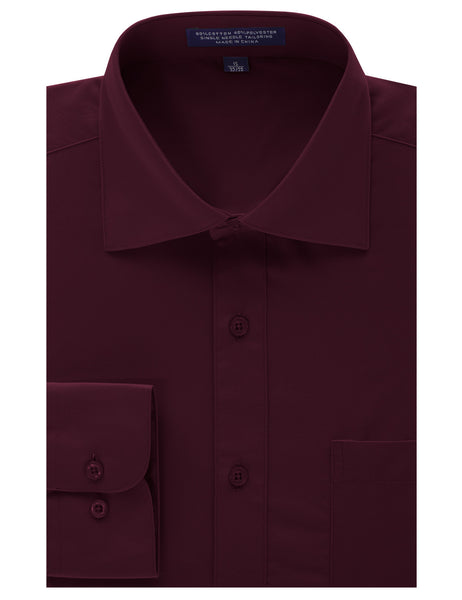 BURGUNDY Regular Fit Dress Shirt w/ Reversible Cuff (Big & Tall Available)- MONDAYSUIT