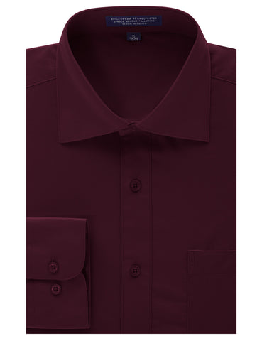 Burgundy Regular Fit Dress Shirt w/ Reversible Cuff (Big & Tall Available)