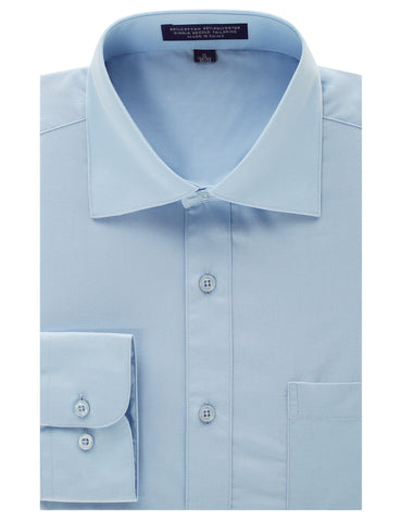 Light Blue Regular Fit Dress Shirt w/ Reversible Cuff (Big & Tall Available)