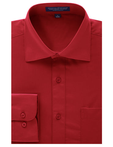 Red Regular Fit Dress Shirt w/ Reversible Cuff (Big & Tall Available)