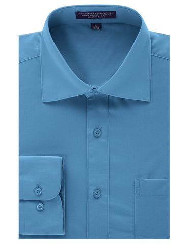 Turquoise Regular Fit Dress Shirt w/ Reversible Cuff (Big & Tall Available)