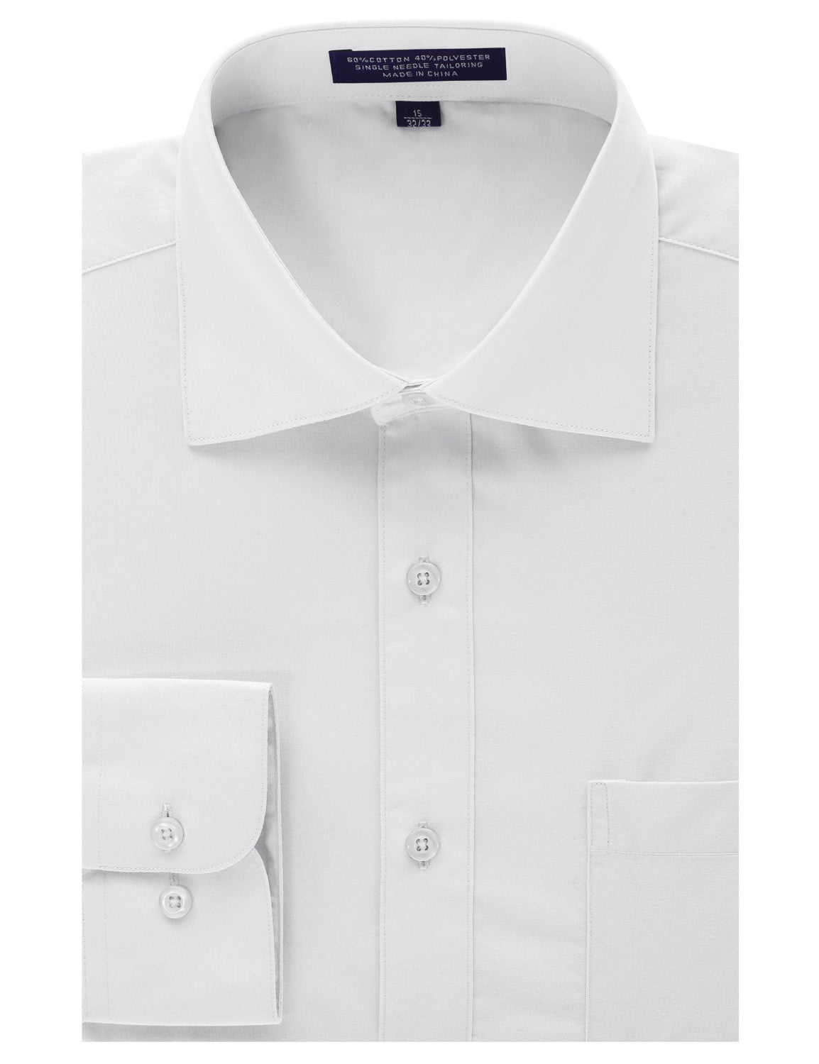 WHITE Regular Fit Dress Shirt w/ Reversible Cuff (Big & Tall Available)- MONDAYSUIT
