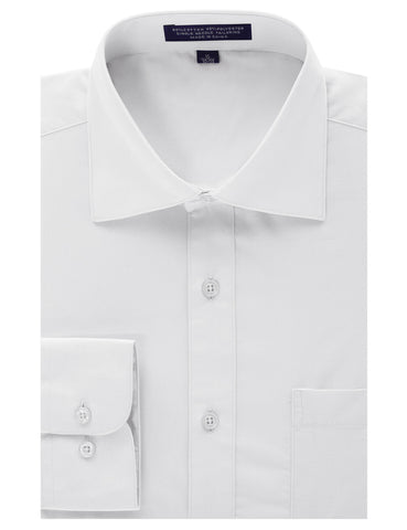 White Regular Fit Dress Shirt w/ Reversible Cuff (Big & Tall Available)