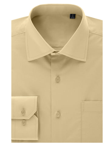 Beige Regular Fit Dress Shirt w/ Reversible Cuff (Big & Tall Available)