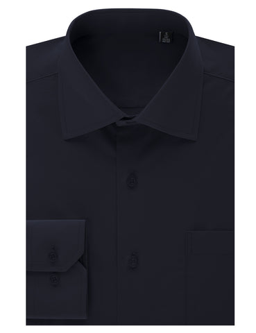 Navy Regular Fit Dress Shirt w/ Reversible Cuff (Big & Tall Available)