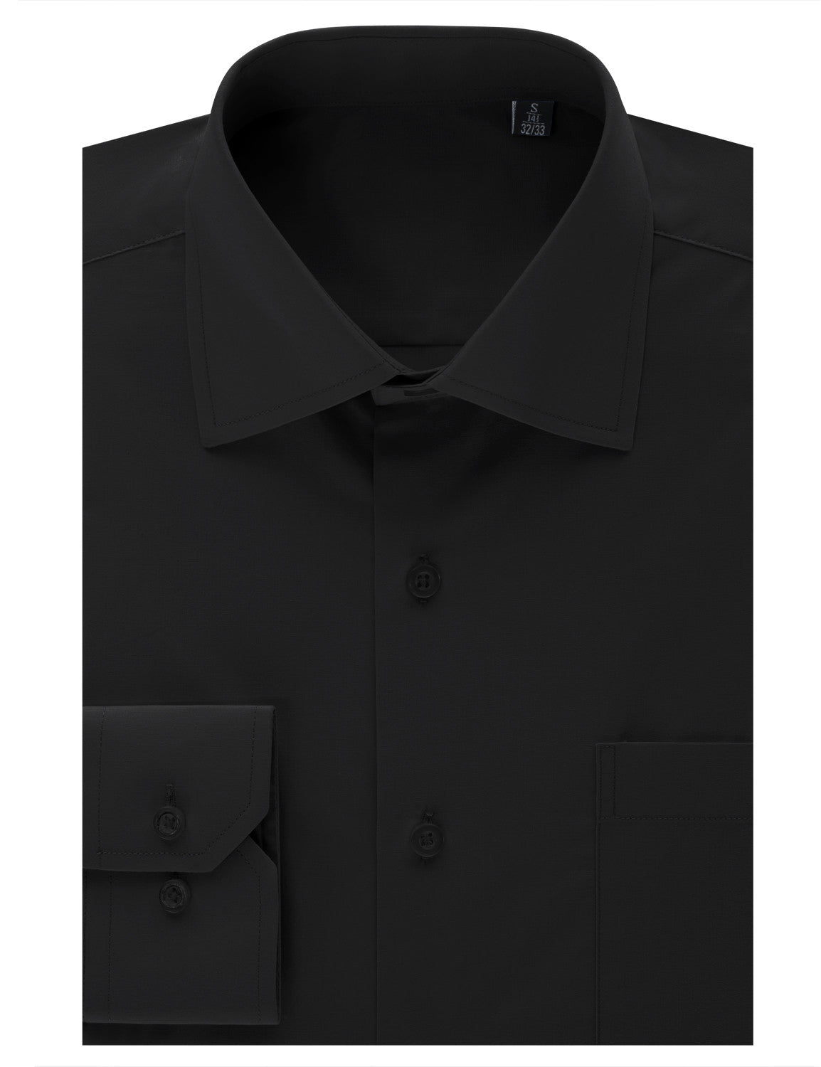 TC22BLACK Black Regular Fit Dress Shirt w/ Reversible Cuff (Big & Tall Available)- MONDAYSUIT