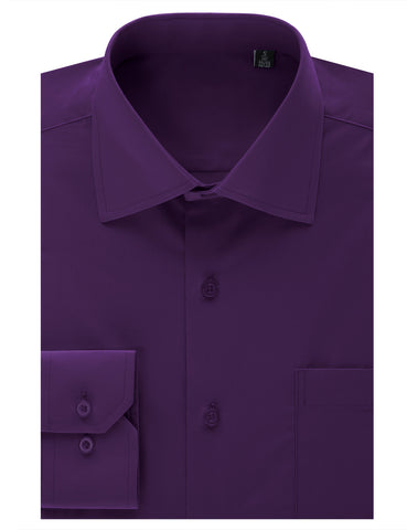 Purple Regular Fit Dress Shirt w/ Reversible Cuff (Big & Tall Available)