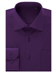 TC628PURPLE Purple Regular Fit Dress Shirt w/ Reversible Cuff (Big & Tall Available)- MONDAYSUIT