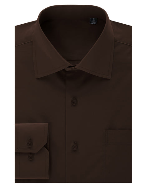 TC631BROWN Brown Regular Fit Dress Shirt w/ Reversible Cuff (Big & Tall Available)- MONDAYSUIT