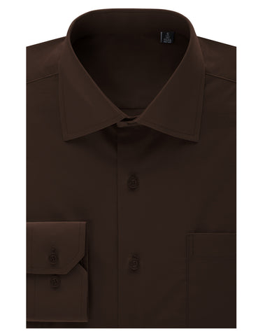 Brown Regular Fit Dress Shirt w/ Reversible Cuff (Big & Tall Available)