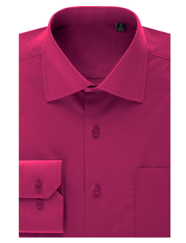 Fuchsia Regular Fit Dress Shirt w/ Reversible Cuff (Big & Tall Available)